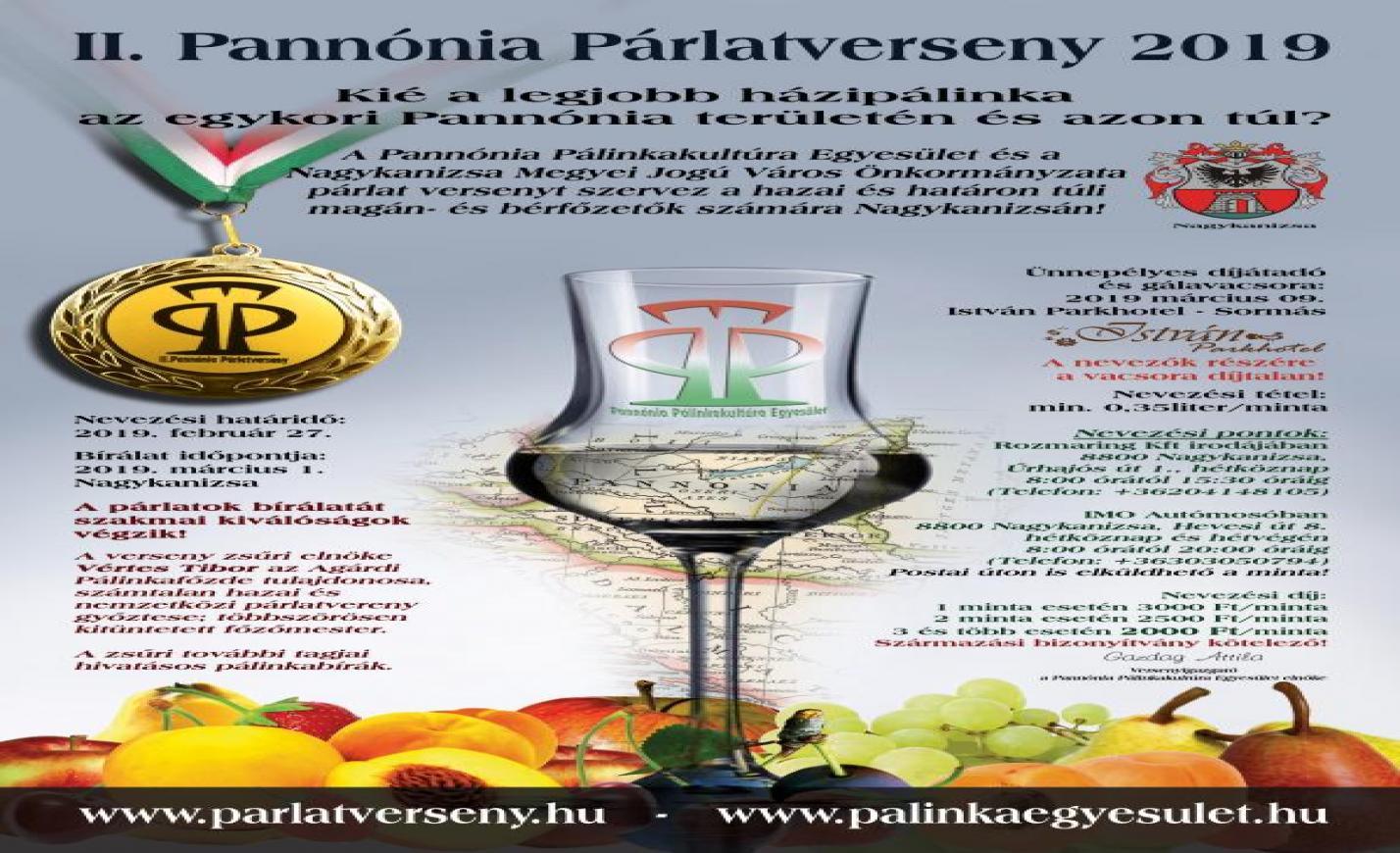 II. Pannónia Pálinkaverseny 2019